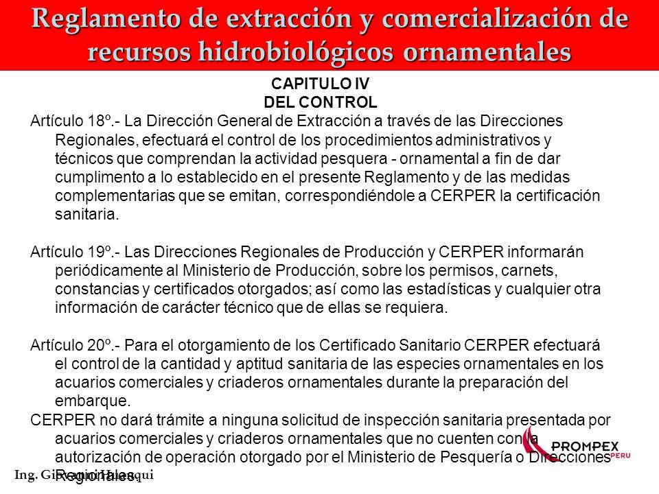 Reglamento de extracción y comercialización de recursos hidrobiológicos ornamentales Ing.