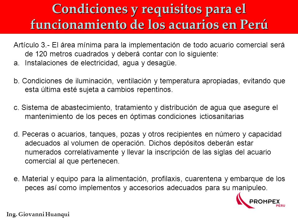Condiciones y requisitos para el funcionamiento de los acuarios en Perú Ing.