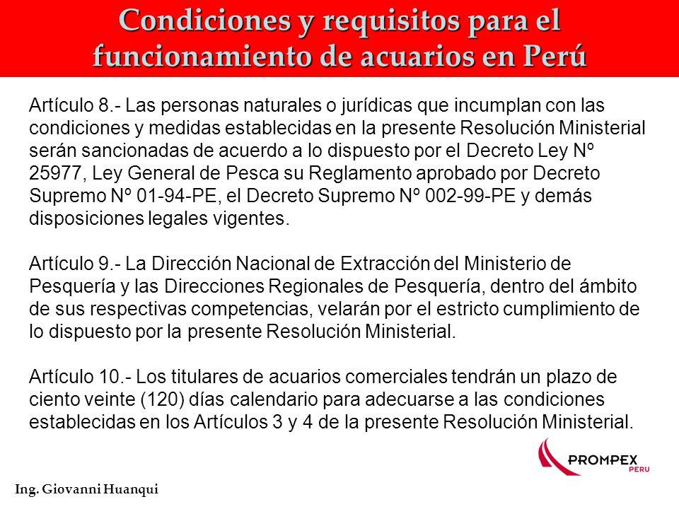Condiciones y requisitos para el funcionamiento de acuarios en Perú Ing.