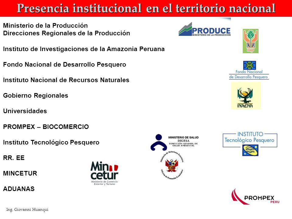 Presencia institucional en el territorio nacional Ing.