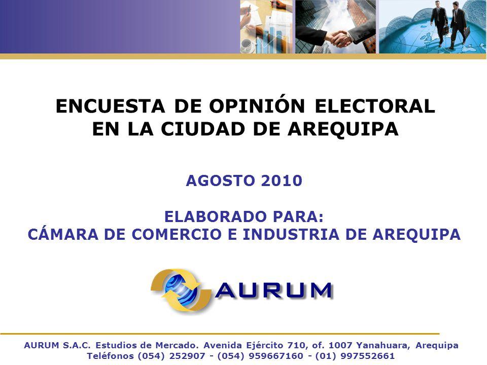 ENCUESTA DE OPINIÓN ELECTORAL EN LA CIUDAD DE AREQUIPA AURUM S.A.C.