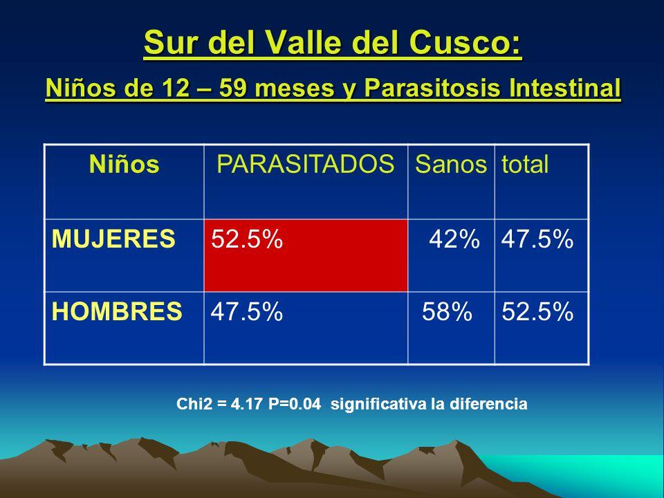 Sur del Valle del Cusco: Niños de 12 – 59 meses y Parasitosis Intestinal NiñosPARASITADOSSanostotal MUJERES52.5% 42%47.5% HOMBRES47.5% 58%52.5% Chi2 = 4.17 P=0.04 significativa la diferencia