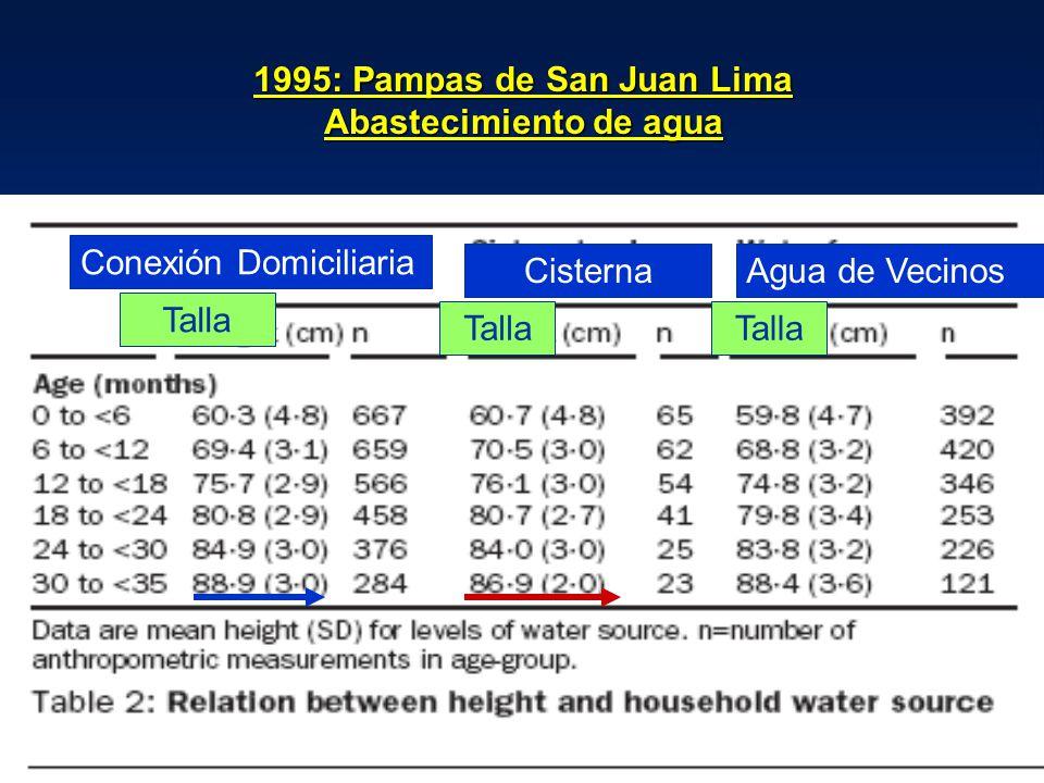 1995: Pampas de San Juan Lima Abastecimiento de agua Conexión Domiciliaria CisternaAgua de Vecinos Talla