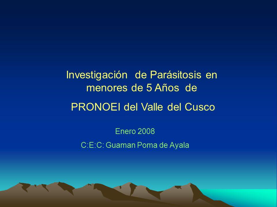 Investigación de Parásitosis en menores de 5 Años de PRONOEI del Valle del Cusco Enero 2008 C:E:C: Guaman Poma de Ayala