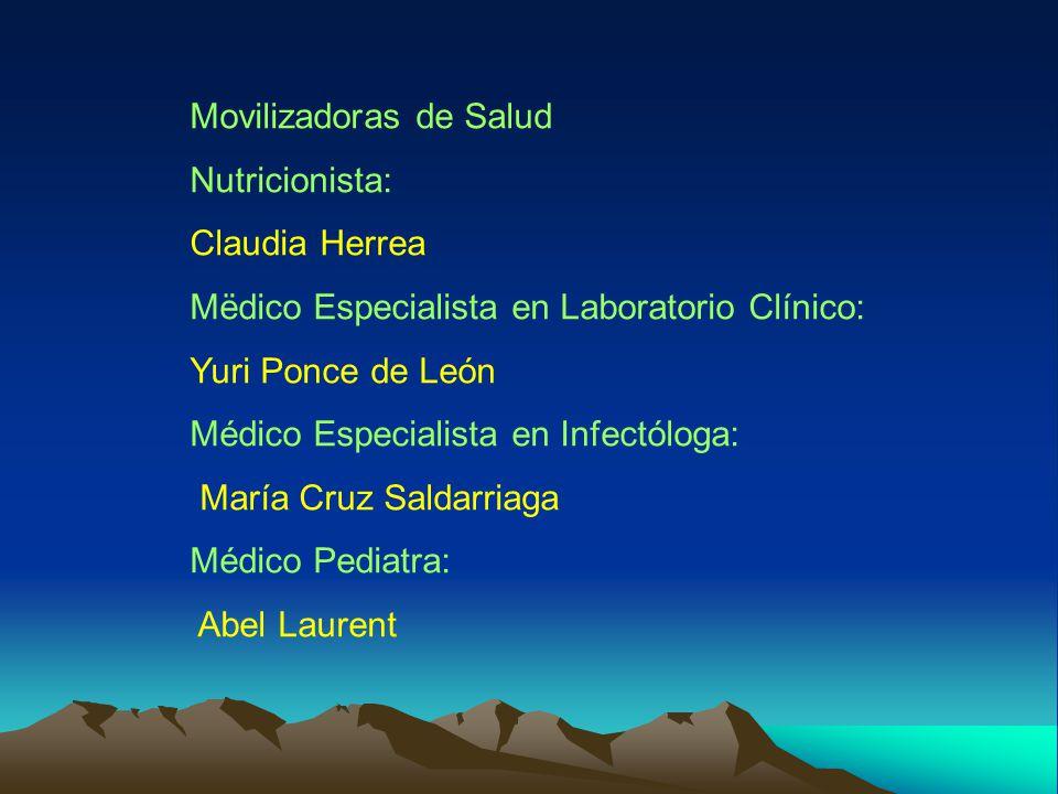 Movilizadoras de Salud Nutricionista: Claudia Herrea Mëdico Especialista en Laboratorio Clínico: Yuri Ponce de León Médico Especialista en Infectóloga: María Cruz Saldarriaga Médico Pediatra: Abel Laurent
