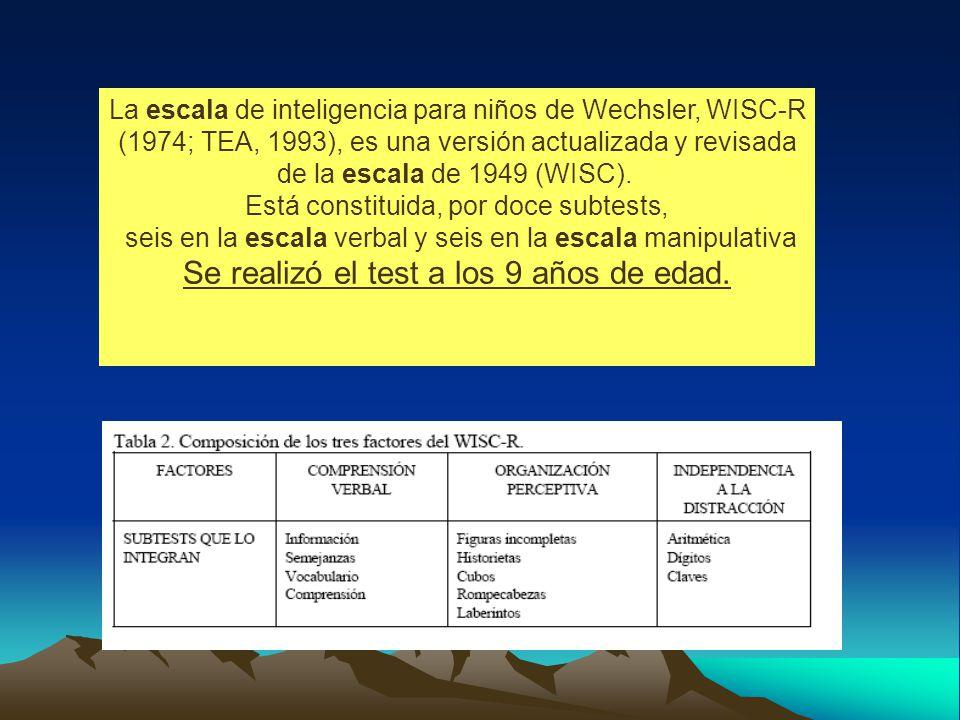 La escala de inteligencia para niños de Wechsler, WISC-R (1974; TEA, 1993), es una versión actualizada y revisada de la escala de 1949 (WISC).