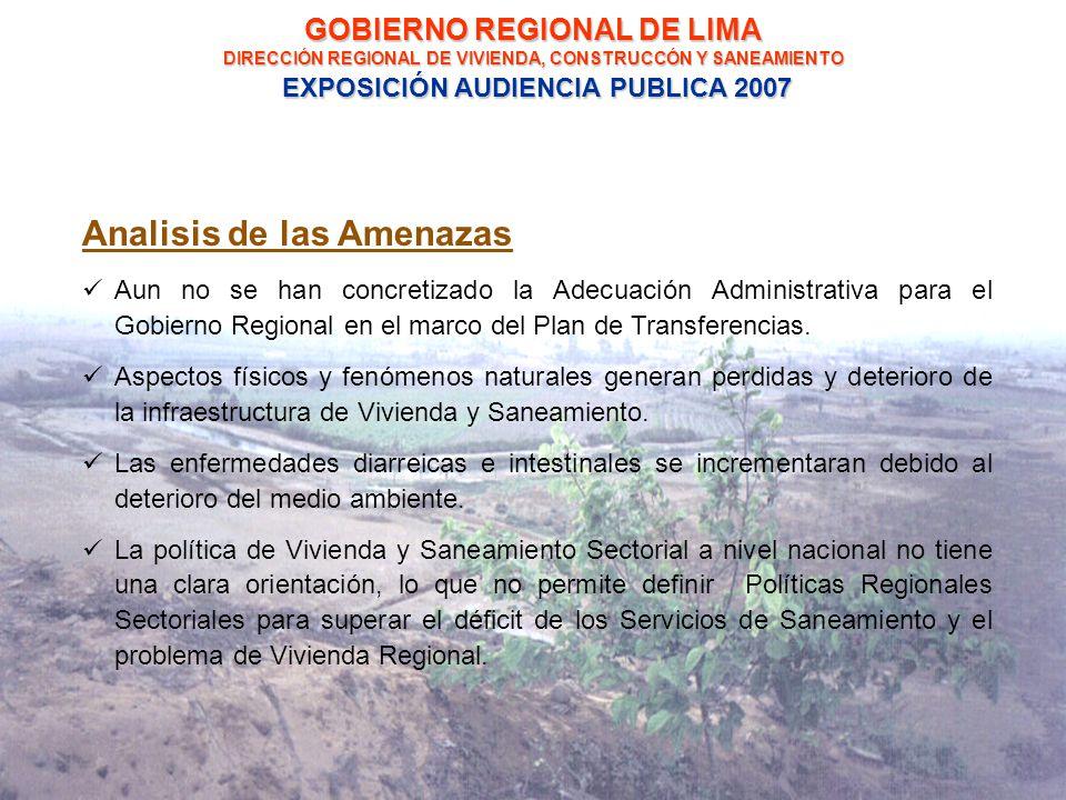 GOBIERNO REGIONAL DE LIMA DIRECCIÓN REGIONAL DE VIVIENDA, CONSTRUCCÓN Y SANEAMIENTO EXPOSICIÓN AUDIENCIA PUBLICA 2007 Analisis de las Amenazas Aun no se han concretizado la Adecuación Administrativa para el Gobierno Regional en el marco del Plan de Transferencias.
