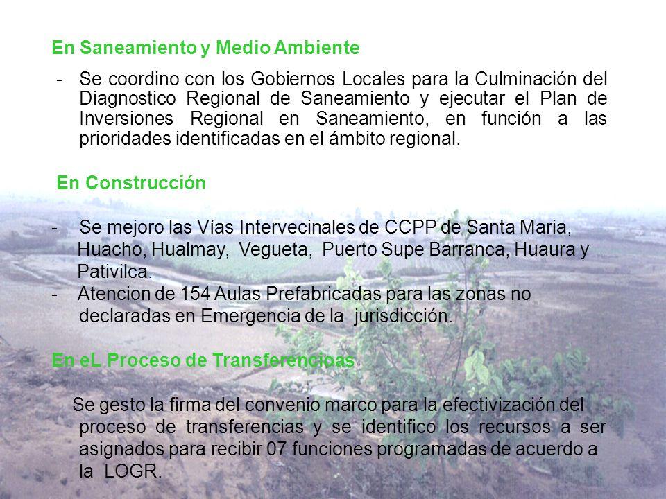 En Saneamiento y Medio Ambiente -Se coordino con los Gobiernos Locales para la Culminación del Diagnostico Regional de Saneamiento y ejecutar el Plan de Inversiones Regional en Saneamiento, en función a las prioridades identificadas en el ámbito regional.