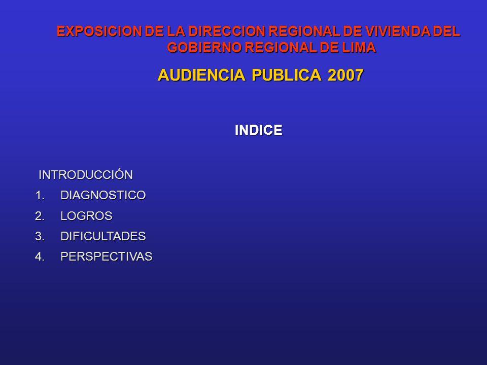EXPOSICION DE LA DIRECCION REGIONAL DE VIVIENDA DEL GOBIERNO REGIONAL DE LIMA AUDIENCIA PUBLICA 2007 AUDIENCIA PUBLICA 2007INDICE INTRODUCCIÓN 1.DIAGNOSTICO 2.LOGROS 3.