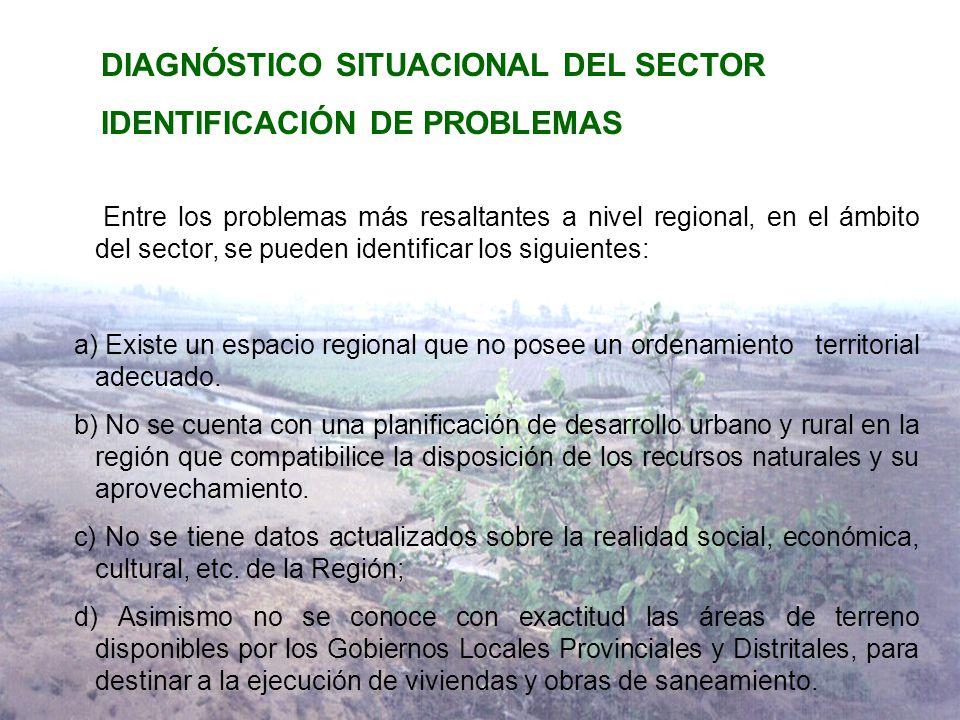 DIAGNÓSTICO SITUACIONAL DEL SECTOR IDENTIFICACIÓN DE PROBLEMAS Entre los problemas más resaltantes a nivel regional, en el ámbito del sector, se pueden identificar los siguientes: a) Existe un espacio regional que no posee un ordenamiento territorial adecuado.