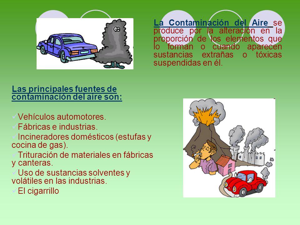La Contaminación del Aire se produce por la alteración en la proporción de los elementos que lo forman o cuando aparecen sustancias extrañas o tóxicas suspendidas en él.