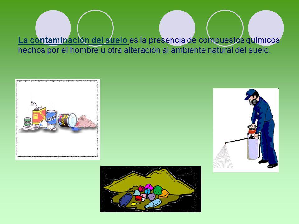 La contaminación del suelo es la presencia de compuestos químicos hechos por el hombre u otra alteración al ambiente natural del suelo.
