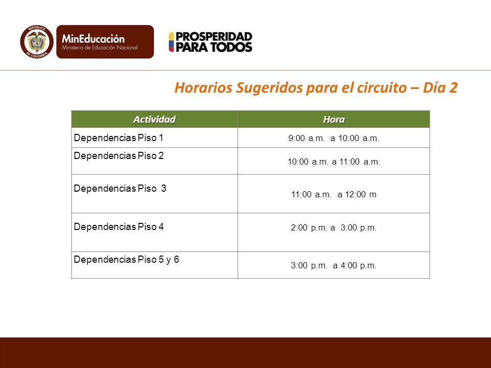 Actividad Hora Dependencias Piso 1 9:00 a.m. a 10:00 a.m.