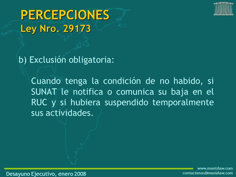 www.munizlaw.com contactenos@munizlaw.com PERCEPCIONES Ley Nro.