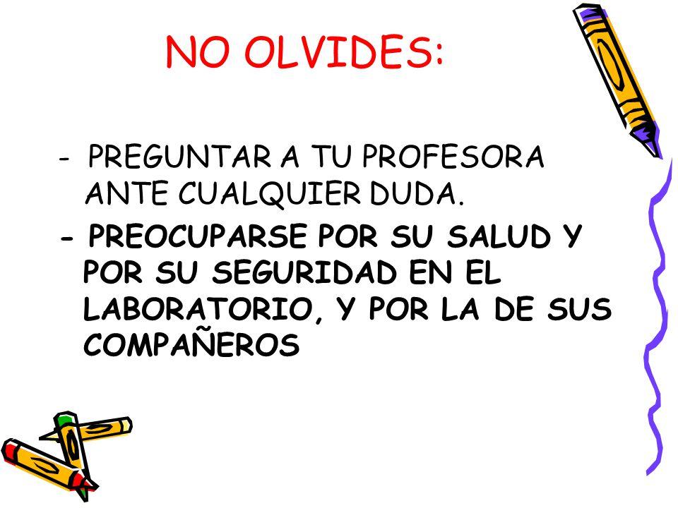 NO OLVIDES: - PREGUNTAR A TU PROFESORA ANTE CUALQUIER DUDA.
