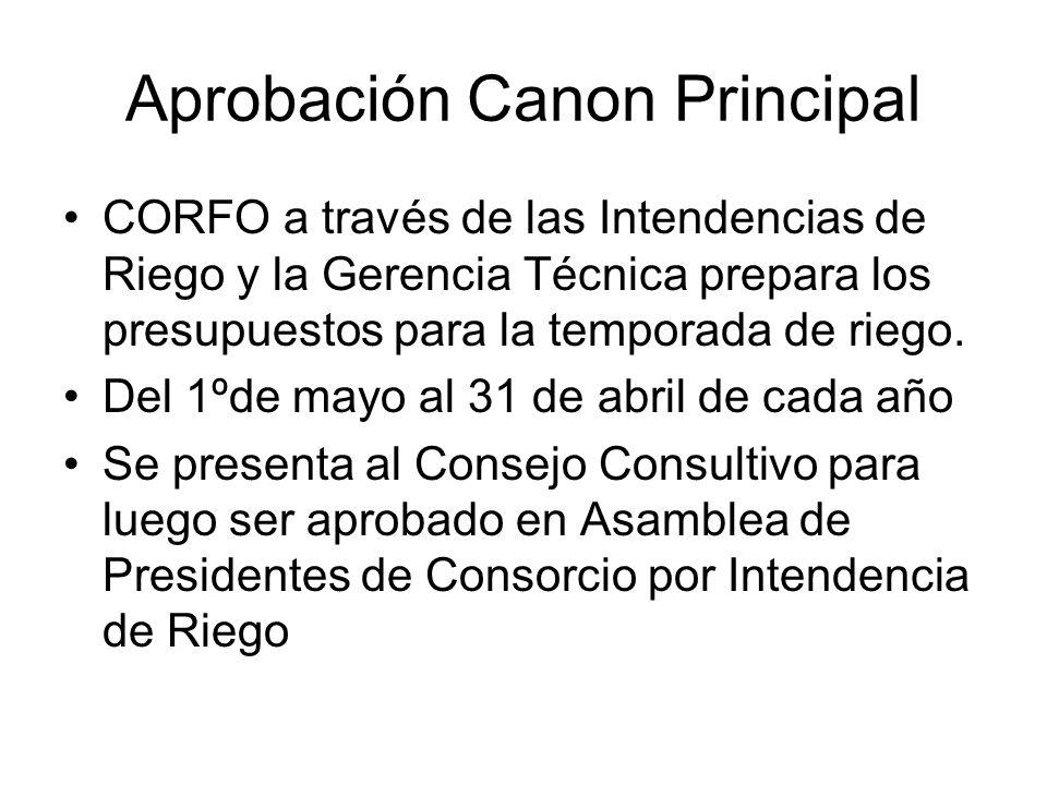 Aprobación Canon Principal CORFO a través de las Intendencias de Riego y la Gerencia Técnica prepara los presupuestos para la temporada de riego.