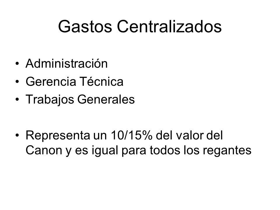 Gastos Centralizados Administración Gerencia Técnica Trabajos Generales Representa un 10/15% del valor del Canon y es igual para todos los regantes