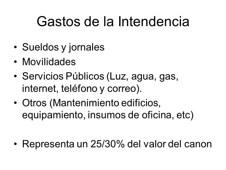 Gastos de la Intendencia Sueldos y jornales Movilidades Servicios Públicos (Luz, agua, gas, internet, teléfono y correo).