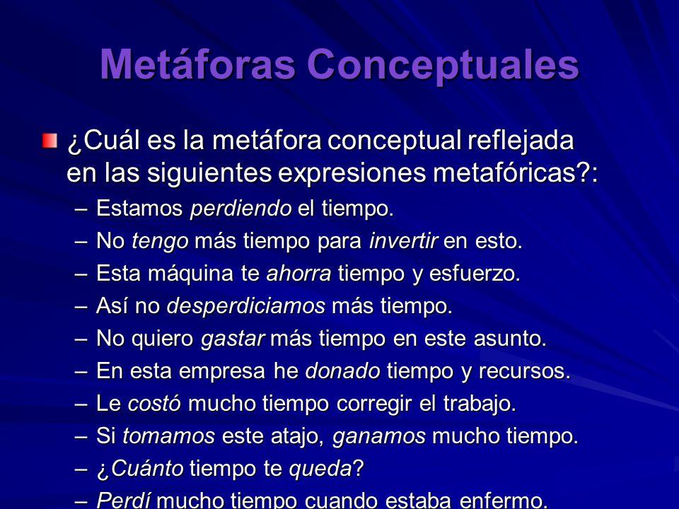 Metáforas Conceptuales ¿Cuál es la metáfora conceptual reflejada en las siguientes expresiones metafóricas : –Estamos perdiendo el tiempo.