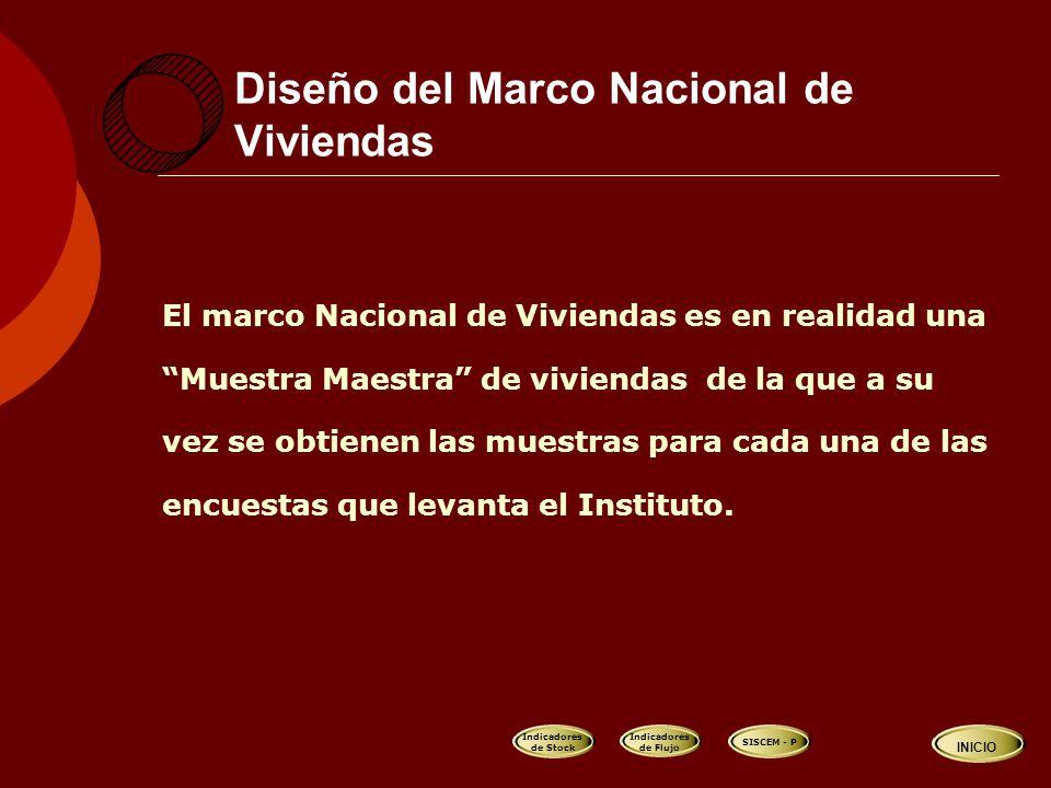 Diseño del Marco Nacional de Viviendas El marco Nacional de Viviendas es en realidad una Muestra Maestra de viviendas de la que a su vez se obtienen las muestras para cada una de las encuestas que levanta el Instituto.