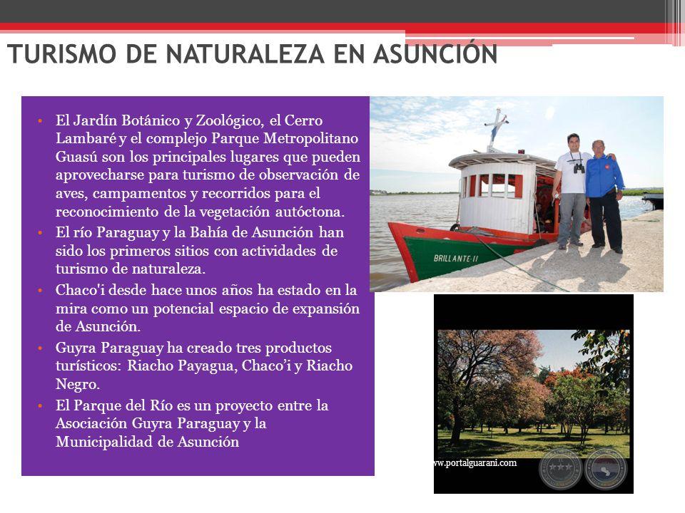 TURISMO DE NATURALEZA EN ASUNCIÓN El Jardín Botánico y Zoológico, el Cerro Lambaré y el complejo Parque Metropolitano Guasú son los principales lugares que pueden aprovecharse para turismo de observación de aves, campamentos y recorridos para el reconocimiento de la vegetación autóctona.