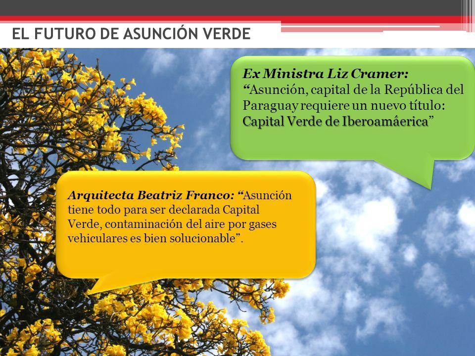 EL FUTURO DE ASUNCIÓN VERDE Arquitecta Beatriz Franco: Asunción tiene todo para ser declarada Capital Verde, contaminación del aire por gases vehiculares es bien solucionable .