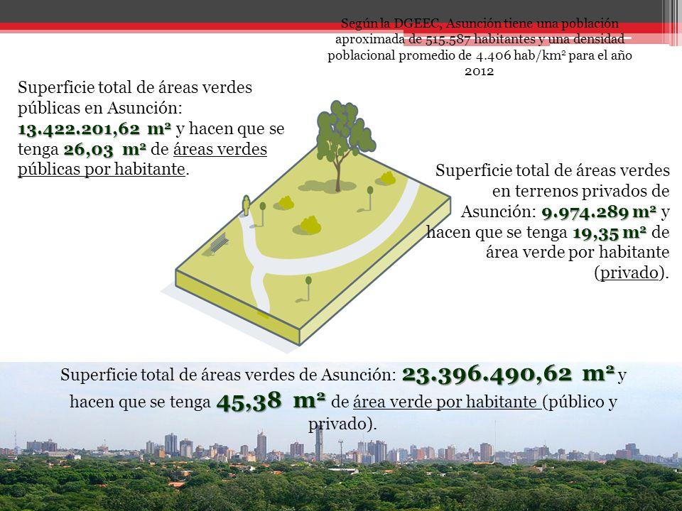 13.422.201,62 m 2 26,03 m 2 Superficie total de áreas verdes públicas en Asunción: 13.422.201,62 m 2 y hacen que se tenga 26,03 m 2 de áreas verdes públicas por habitante.