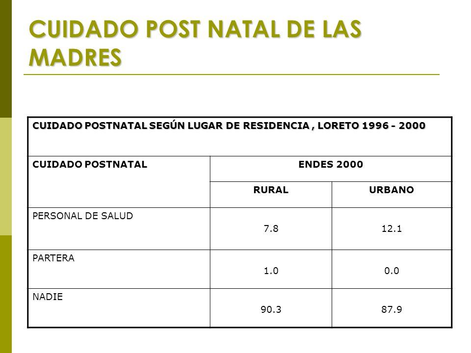 CUIDADO POST NATAL DE LAS MADRES CUIDADO POSTNATAL SEGÚN LUGAR DE RESIDENCIA, LORETO 1996 - 2000 CUIDADO POSTNATALENDES 2000 RURALURBANO PERSONAL DE SALUD 7.812.1 PARTERA 1.00.0 NADIE 90.387.9