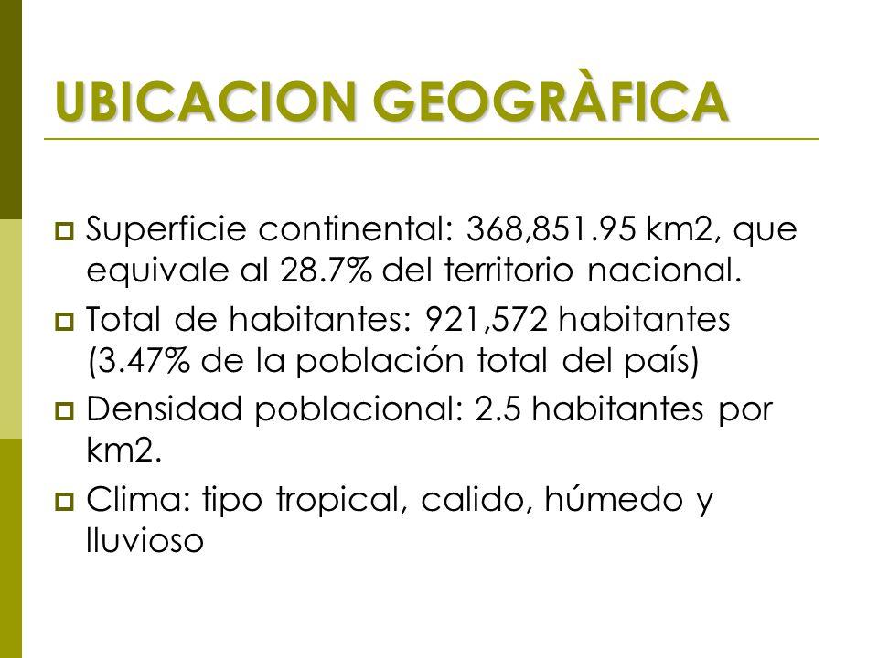UBICACION GEOGRÀFICA  Superficie continental: 368,851.95 km2, que equivale al 28.7% del territorio nacional.