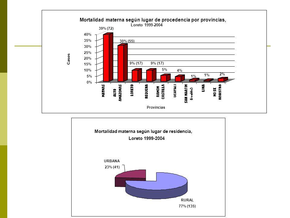 Mortalidad materna según lugar de residencia, Loreto 1999-2004 URBANA 23% (41) RURAL 77% (135)