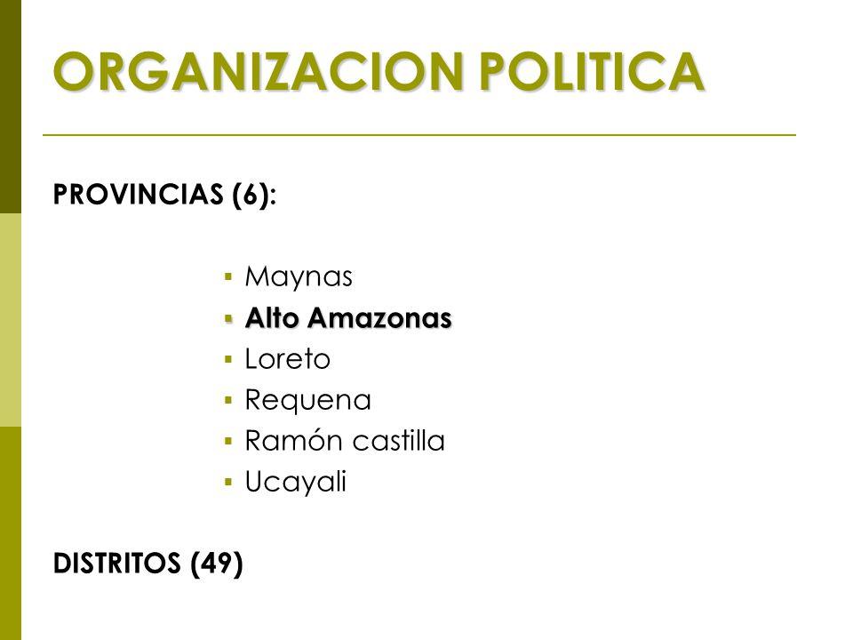 ORGANIZACION POLITICA PROVINCIAS (6):  Maynas  Alto Amazonas  Loreto  Requena  Ramón castilla  Ucayali DISTRITOS (49)