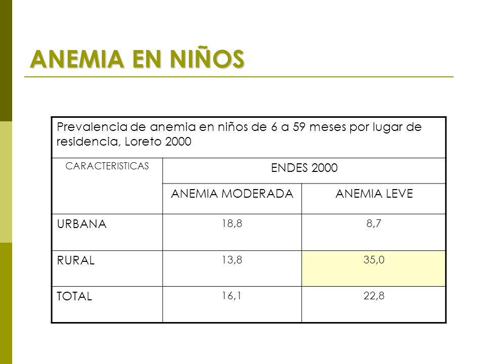 ANEMIA EN NIÑOS Prevalencia de anemia en niños de 6 a 59 meses por lugar de residencia, Loreto 2000 CARACTERISTICAS ENDES 2000 ANEMIA MODERADAANEMIA LEVE URBANA 18,88,7 RURAL 13,835,0 TOTAL 16,122,8