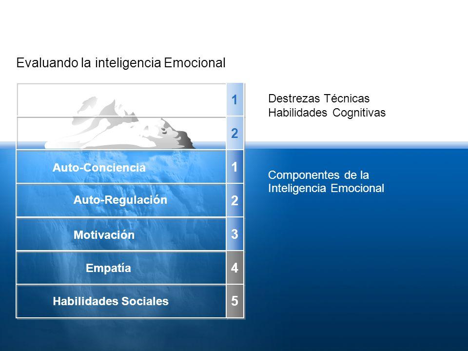 Evaluando la inteligencia Emocional 1 1 2 2 1 1 2 2 3 3 4 4 5 5 Destrezas Técnicas Habilidades Cognitivas Componentes de la Inteligencia Emocional Auto-Conciencia Auto-Regulación Habilidades Sociales Motivación Empatía
