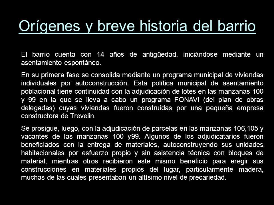Orígenes y breve historia del barrio El barrio cuenta con 14 años de antigüedad, iniciándose mediante un asentamiento espontáneo.