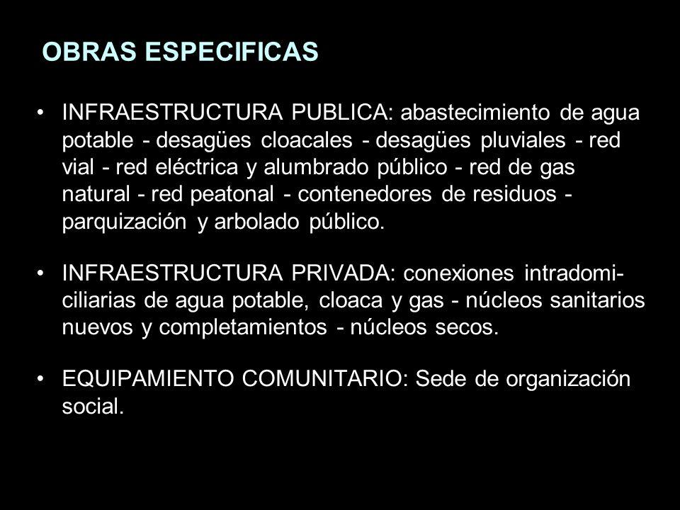 OBRAS ESPECIFICAS INFRAESTRUCTURA PUBLICA: abastecimiento de agua potable - desagües cloacales - desagües pluviales - red vial - red eléctrica y alumbrado público - red de gas natural - red peatonal - contenedores de residuos - parquización y arbolado público.