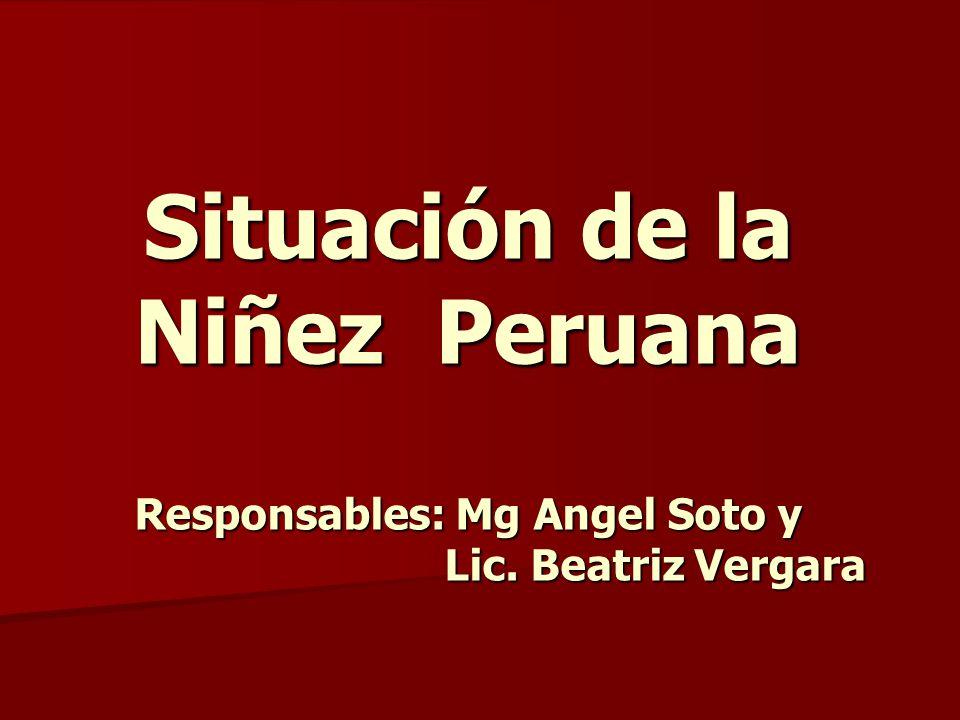 Situación de la Niñez Peruana Responsables: Mg Angel Soto y Lic. Beatriz Vergara