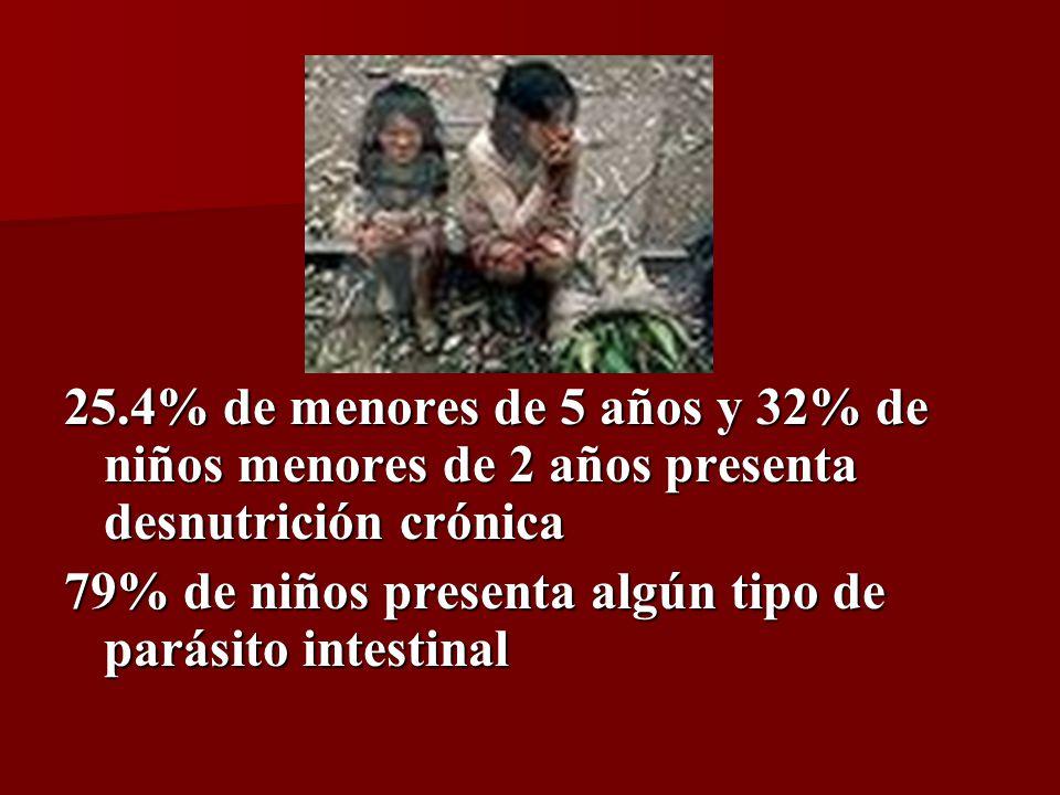 25.4% de menores de 5 años y 32% de niños menores de 2 años presenta desnutrición crónica 79% de niños presenta algún tipo de parásito intestinal