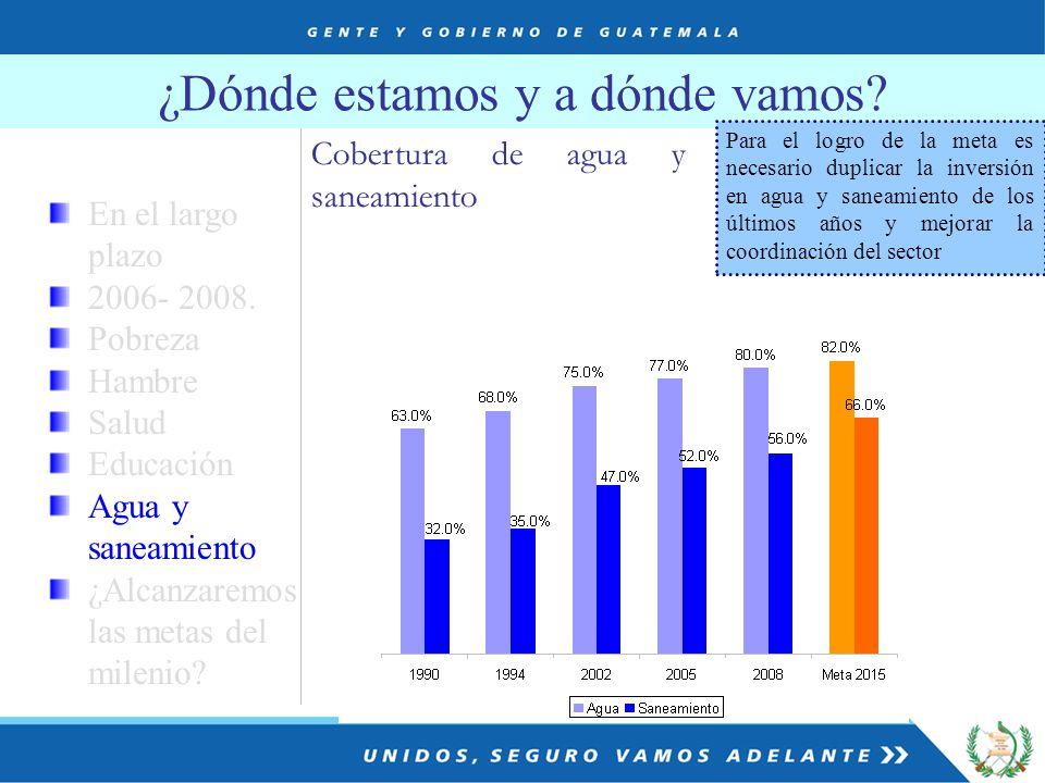 ¿Dónde estamos y a dónde vamos. Cobertura de agua y saneamiento En el largo plazo 2006- 2008.