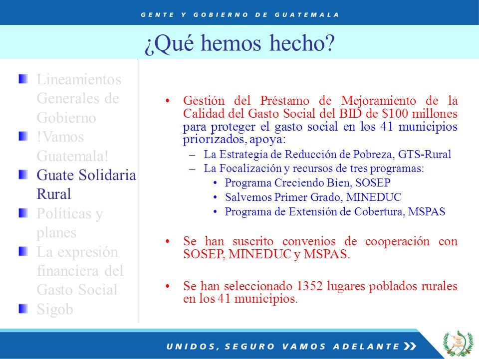 Lineamientos Generales de Gobierno !Vamos Guatemala.