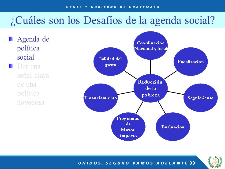 Agenda de política social Dar una señal clara de una política novedosa ¿Cuáles son los Desafíos de la agenda social