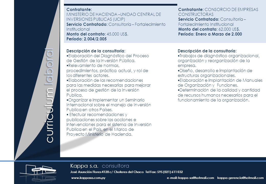 Contratante: MINISTERIO DE HACIENDA –UNIDAD CENTRAL DE INVERSIONES PUBLICAS (UCIP) Servicio Contratado: Consultoría – Fortalecimiento Institucional Monto del contrato: 45.000 US$.