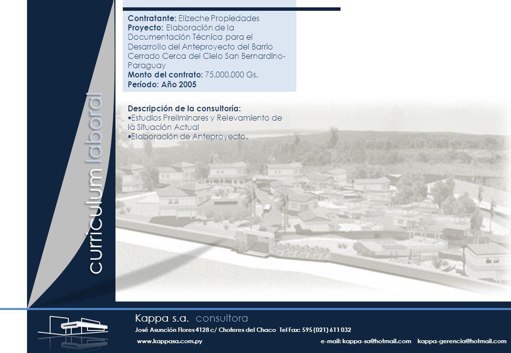 curriculum laboral Contratante: Elizeche Propiedades Proyecto: Elaboración de la Documentación Técnica para el Desarrollo del Anteproyecto del Barrio Cerrado Cerca del Cielo San Bernardino- Paraguay Monto del contrato: 75.000.000 Gs.