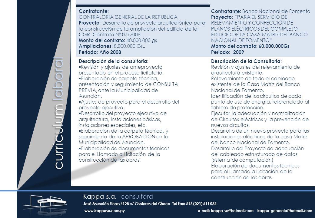 curriculum laboral Contratante: CONTRALORIA GENERAL DE LA REPUBLICA Proyecto: Desarrollo de proyecto arquitectónico para la construcción de la ampliación del edificio de la CGR.