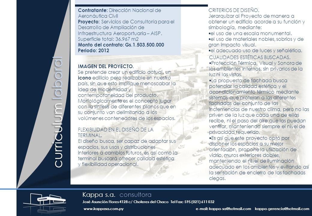 curriculum laboral Contratante: Dirección Nacional de Aeronáutica Civil Proyecto: Servicios de Consultoría para el Desarrollo de Ampliación de Infraestructura Aeroportuaria – AISP.