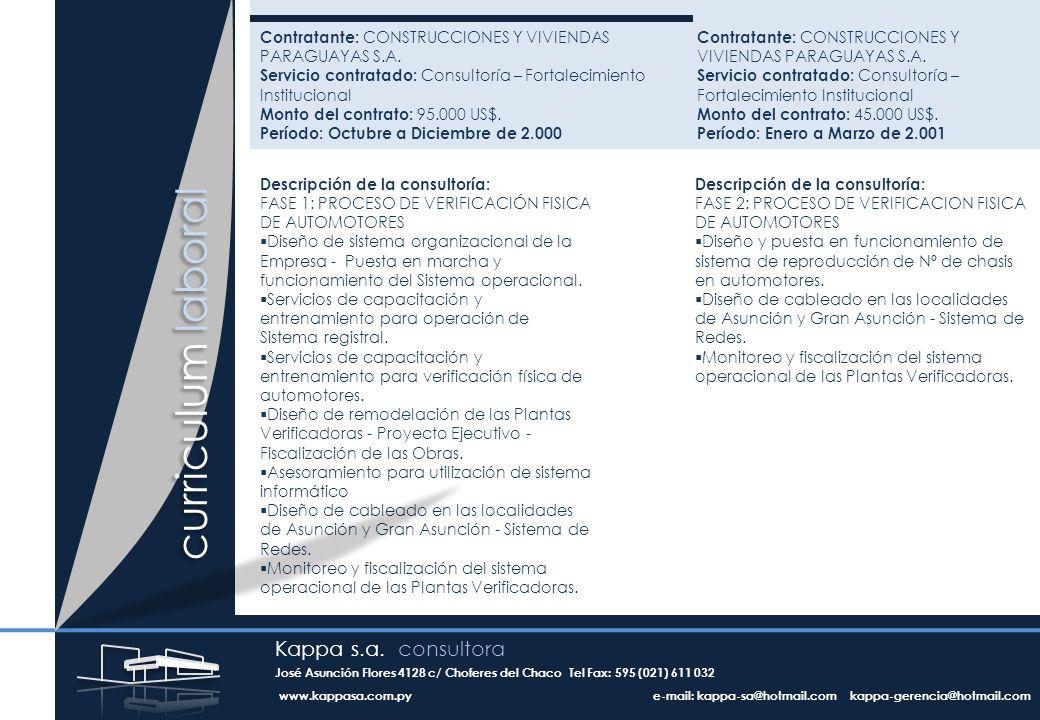 Contratante: CONSTRUCCIONES Y VIVIENDAS PARAGUAYAS S.A.