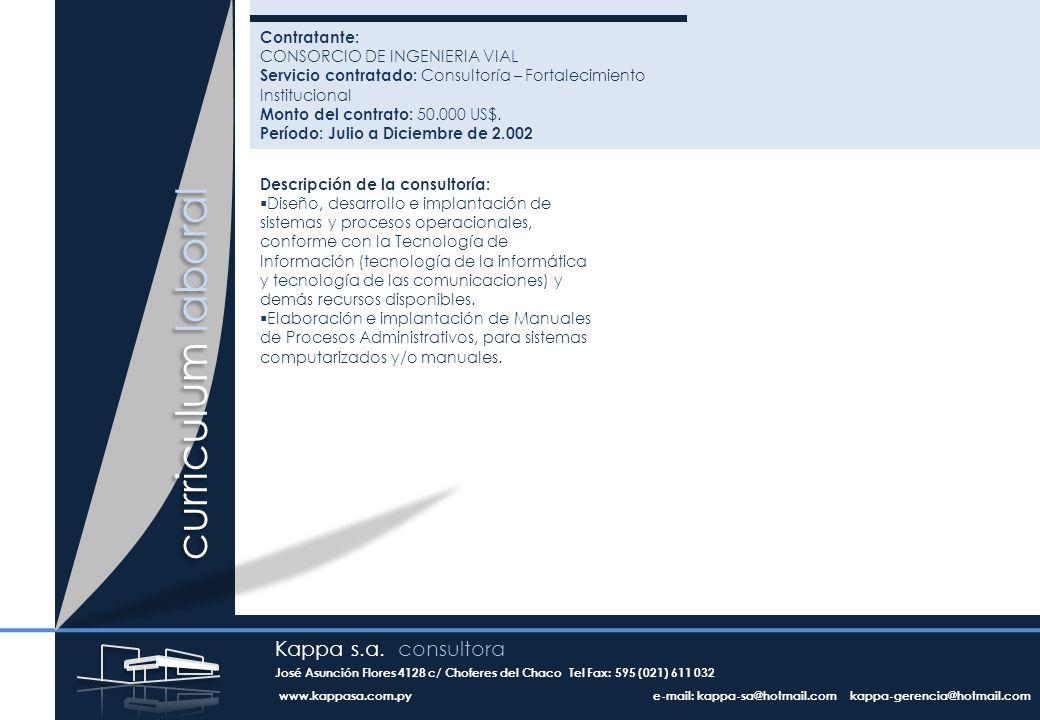 Contratante: CONSORCIO DE INGENIERIA VIAL Servicio contratado: Consultoría – Fortalecimiento Institucional Monto del contrato: 50.000 US$.