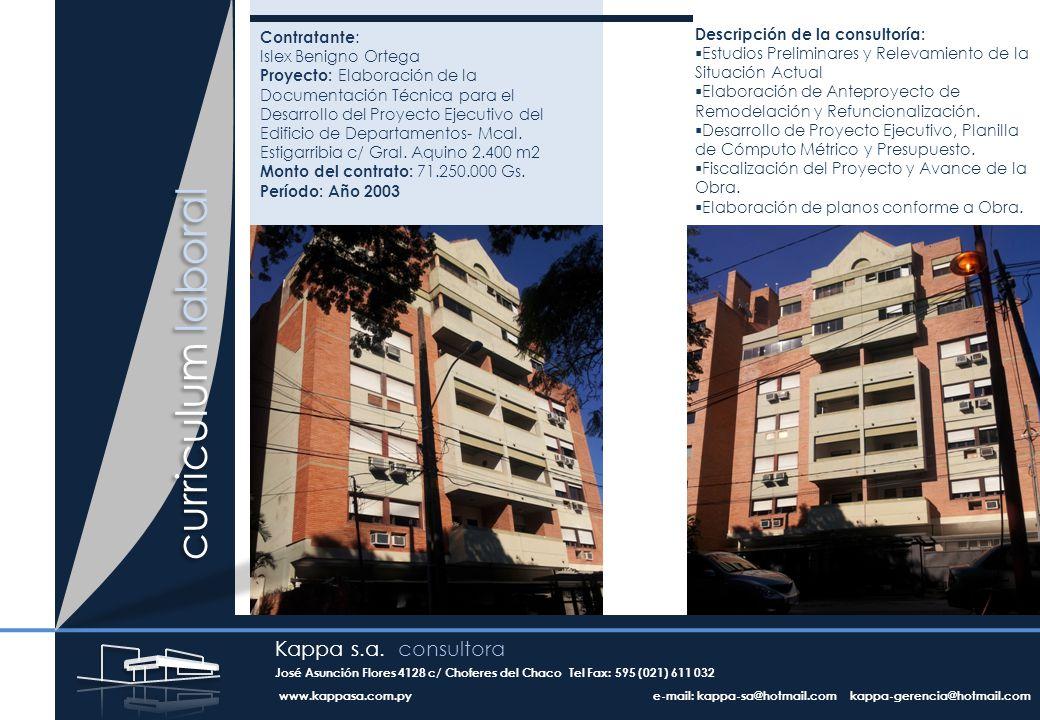 Contratante : Islex Benigno Ortega Proyecto: Elaboración de la Documentación Técnica para el Desarrollo del Proyecto Ejecutivo del Edificio de Departamentos- Mcal.