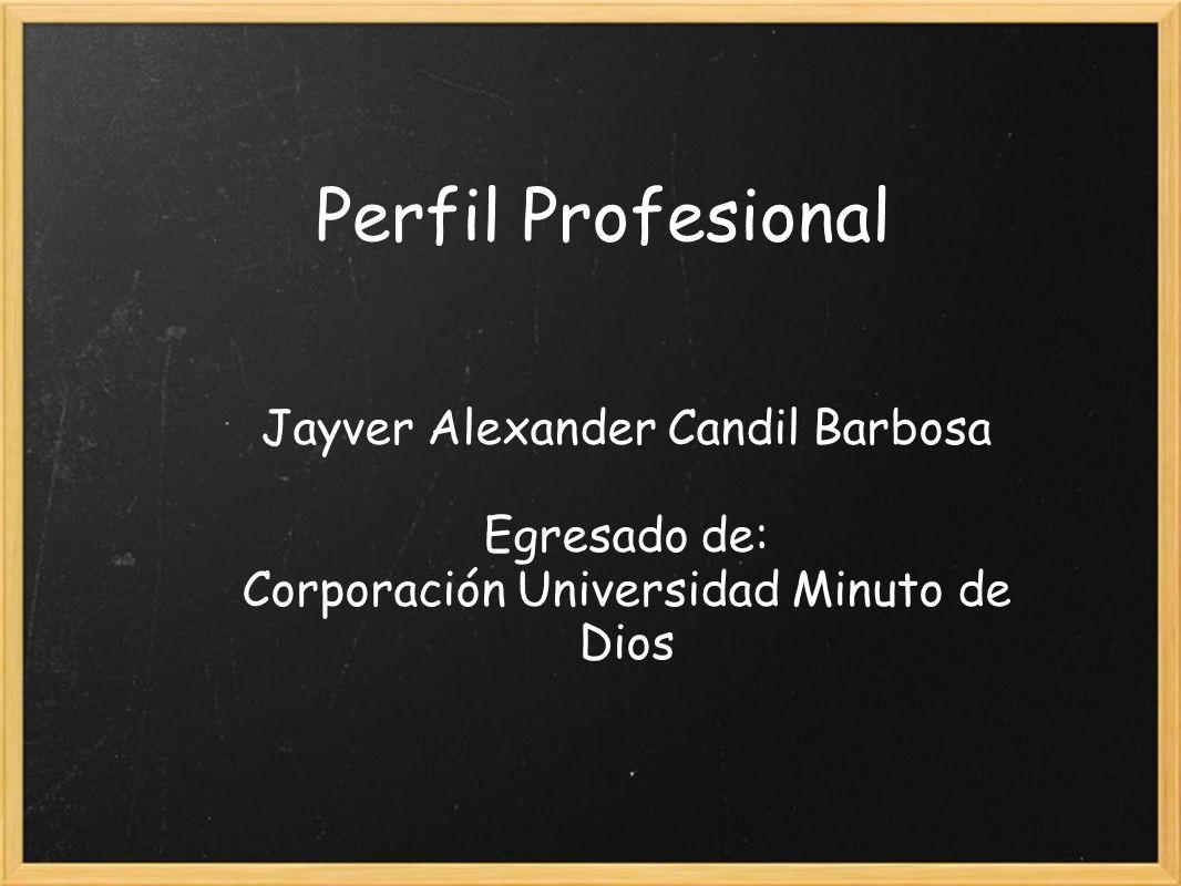 Perfil Profesional Jayver Alexander Candil Barbosa Egresado de: Corporación Universidad Minuto de Dios