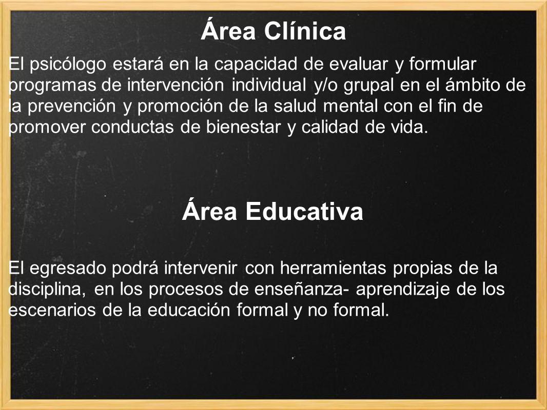 Área Clínica El psicólogo estará en la capacidad de evaluar y formular programas de intervención individual y/o grupal en el ámbito de la prevención y promoción de la salud mental con el fin de promover conductas de bienestar y calidad de vida.