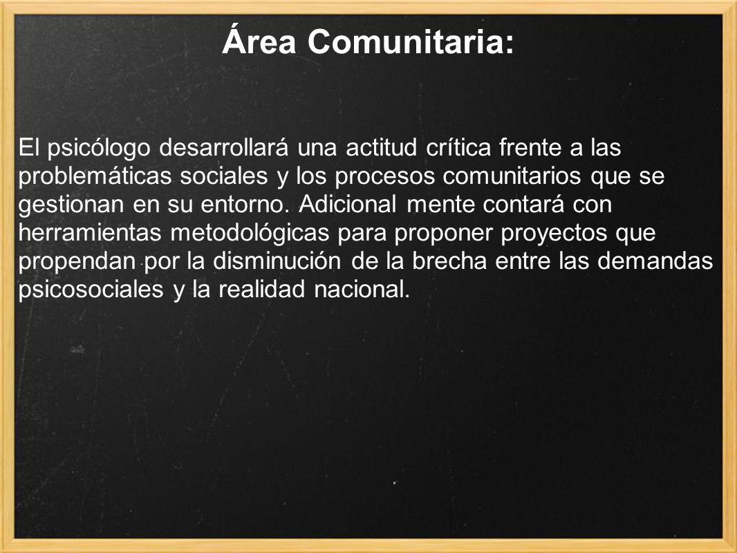 Área Comunitaria: El psicólogo desarrollará una actitud crítica frente a las problemáticas sociales y los procesos comunitarios que se gestionan en su entorno.